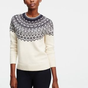 ANN TAYLOR fairisle embellished jewel sweater W16
